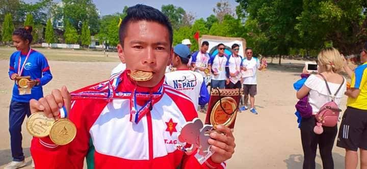 स्याङ्गजाका टबिन गुरुङले आठौ खेलकुद प्रतियोगिता तीन स्वर्ण पदक हात पार्न सफल ।