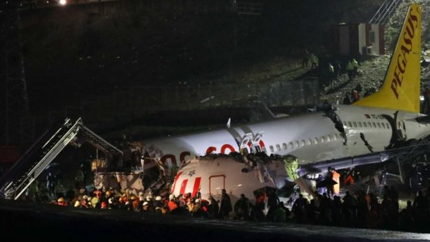 टर्कीमा अवतरणको क्रममा हवाइजहाज दुर्घटना ३ को मृत्यु ।