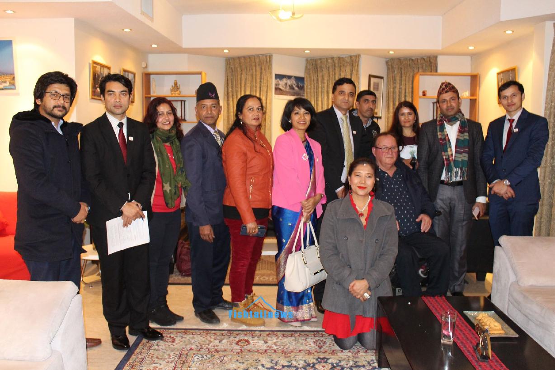 नेपाली राजदुताबासले संस्कृति, पर्यटन तथा नागरिक उड्डयन मन्त्री योगेश कुमार भट्टराई इजरायल भ्रमणको अवसर पारेर भेटघाट तथा चियापान कार्यक्रम सम्पन्न ।